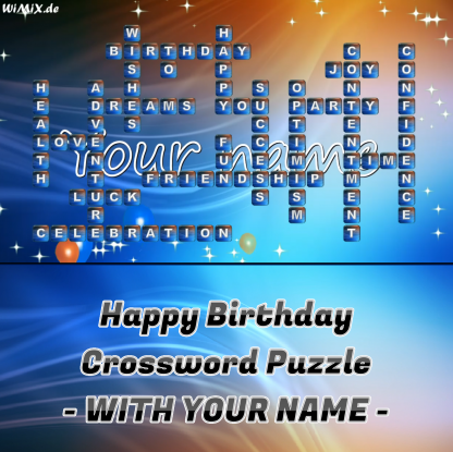 Happy Birthday Crossword Puzzle with YOUR NAME - Congratulation Video