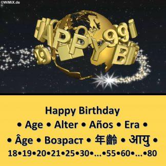 B) 3D Happy Birthday ♦ Age • Alter • Años • Era • Âge • Возраст • 年齡 • आयु